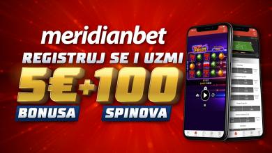 Photo of Dobrodošlica u sportskoj kladionici Meridian! Poklon 5 eura bonus + 100 spinova